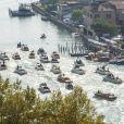 Vue aérienne -  George Clooney et sa femme Amal Alamuddin au lendemain de leur mariage, le 28 septembre 2014, ont quitté l'Aman Grande Canal Venice après leur nuit de noces pour rallier le Cipriani pour un brunch avec leurs proches.