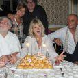 Exclusif - Mylène Demongeot entourée de Jean-Marie Mulon, Christian Huchedé (fondateur du Refuge de l'Arche), la chanteuse Irène Roussel, Didier Desbrosses, le scénariste Jacques Fieschi et son filleul Mark Céan, célèbre son 79e anniversaire au château du Chêne Vert à Château-Gontier, les 27 et 28 septembre 2014.