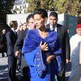 """La princesse Lalla Meryem du Maroc accueillie par Jack Lang, président de l'Institut du monde arabe - Inauguration de l'exposition """"Le Maroc contemporain"""" à l'Institut du monde arabe à Paris, le 14 octobre 2014."""
