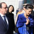 """François Hollande, Fleur Pellerin et la princesse Lalla Meryem du Maroc - Inauguration de l'exposition """"Le Maroc contemporain"""" à l'Institut du monde arabe à Paris, le 14 octobre 2014."""