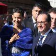 """François Hollande et la princesse Lalla Meryem du Maroc - Inauguration de l'exposition """"Le Maroc contemporain"""" à l'Institut du monde arabe à Paris, le 14 octobre 2014."""