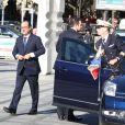 """Le président François Hollande - Inauguration de l'exposition """"Le Maroc contemporain"""" à l'Institut du monde arabe à Paris, le 14 octobre 2014."""