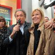 Michèle Bernier, Michel Drucker et Chantal Ladesou - Michel Drucker célèbre ses 50 ans de télévision entouré de ses amis à l'occasion du passage du 'Train De La Télé' en gare de Caen, sa région natale, le 21 octobre 2014.