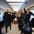 L'attachée de presse de Michel Drucker Nicole Sonneville, Daniel Russo et Michèle Bernier saluent leur ami Michel Drucker - Michel Drucker célèbre ses 50 ans de télévision entouré de ses amis à l'occasion du passage du 'Train De La Télé' en gare de Caen, sa région natale, le 21 octobre 2014.