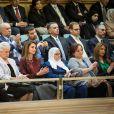 Rania de Jordanie et la famille royale au Parlement à Amman le 2 novembre 2014 lors du Discours du Trône pour la cérémonie d'inauguration de la seconde session du 17e Parlement par le souverain.