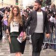 Nabilla et Thomas au défilé Jean Paul Gaultier à Paris, le 9 juillet 2014.
