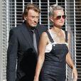 """Johnny Hallyday avec sa femme Laeticia sur le tournage de son nouveau clip """"Seul"""" (chanson de son nouvel album """"Rester Vivant"""") à Los Angeles, le 12 octobre 2014."""