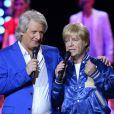 Exclusif - Patrick Sébastien et Fabien Lecoeuvre à la soirée Ze Fiesta à l'Olympia, pour les 40 ans de carrière de Patrick Sébastien, le vendredi 14 novembre 2014.