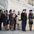 Mélanie-Antoinette de Massy, la princesse Stéphanie, la baronne Elisabeth-Anne de Massy, la princesse Caroline, Sacha Casiraghi, Tatiana Santo Domingo, Andrea Casiraghi et la princesse Alexandra de Hanovre étaient réunis le 19 novembre 2014 dans la cour du palais princier, à Monaco, pour voir le prince Albert II présider la cérémonie de la prise d'armes à l'occasion de la Fête nationale.