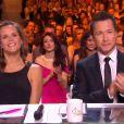 Laure Manaudou et Stéphane Rousseau, lors de la cérémonie de Miss France 2015 sur TF1, le samedi 6 décembre 2014.