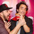 """Exclusif - Artus (Victor Artus Solaro) et Florent Peyre - Soirée de lancement de """"Deconne Cheese"""", une nouvelle chaîne d'humour lancée sur internet, au restaurant """"le Floors"""" à Paris, le 10 décembre 2014"""