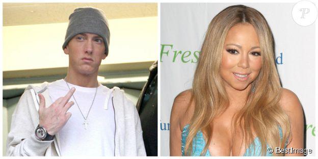 Montage d'une photo d'Eminem en 2009 et de Mariah Carey en 2014. ©Bestimage
