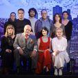 """Eric-Emmanuel Schmitt, Marie-Claude Pietragalla, Steve Suissa (metteur en scène) et le reste de l'équipe - Filage de la pièce """"L'Elixir d'Amour"""" au Théâtre Rive Gauche à Paris, le 19 décembre 2014."""