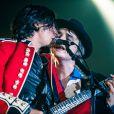 Pete Doherty et Carl Barât lors du concert du groupe The Libertines au Alexandra Palace à Londres, le 26 septembre 2014.