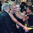 Tonya Kinzinger, Elodie Gossuin et Masimo Gargia - Cérémonie Top Model Belgium 2014 au Lido à Paris, le 23 novembre 2014.