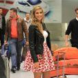 Miss France 2015 Camille Cerf arrive à Miami pour l'élection Miss Univers, le 6 janvier 2015