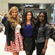 Miss France 2015 Camille Cerf arrive à Miami pour l'élection Miss Univers, le 6 janvier 2015. Ici, avec les Miss Liban et Miss Gabon