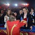 La princesse Stéphanie de Monaco et sa fille Camille Gottlieb ont assisté à la 2e soirée du 39e Festival International du Cirque de Monte-Carlo au Chapiteau de Fontvieille à Monaco, le 16 janvier 2015.