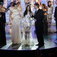 "Marie-Laure Cornu (Miss 2014), Margaux Deroy, Miss Prestige national 2015 (Miss Prestige Flandre 2014), Olivier Minne - Election Miss Prestige national 2015 au ""Royal Palace"" à Kirrwiller, le 18 janvier 2015."