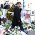 Patrick Pelloux - Le maire de New-York, Bill de Blasio s'est recueilli en compagnie de Anne Hidalgo, maire de Paris et de Patrick Pelloux devant les locaux de Charlie Hebdo et sur les lieux où le policier Ahmed Merabet a été abattu par les fréres Kouachi à Paris, le 20 janvier 2015.