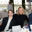 Exclusif - Muriel Hermine, son fils Killian et son ami - Le 94e Prix d'Amérique Opodo à l'Hippodrome de Paris-Vincennes, le 25 janvier 2015.