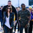 Kim Kardashian et Kanye West lors de leur arrivée au Phoenix Stadium de Glendale le 1er février 2015 à l'occasion du Super Bowl entre les Seahawks de Seattle et les Patriots de New England
