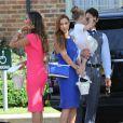 Rochelle Humes, Una Healy, son mari Ben Foden et leur fille Aoife Belle arrivant au mariage de Frankie Sandford (The Saturdays) et Wayne Bridge à Woburn. Le 19 juillet 2014