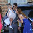 Una Healy, son mari Ben Foden et leur fille Aoife Belle arrivant au mariage de Frankie Sandford (The Saturdays) et Wayne Bridge à Woburn. Le 19 juillet 2014