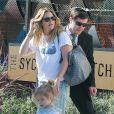 Exclusif - Drew Barrymore avec son mari Will Koppleman et leur fille Olive en famille à Los Angeles, le 23 janvier 2015.