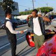 Exclusif - Ray J arrive en ferrari au restaurant Craig à Beverly Hills, le 9 août 2014.