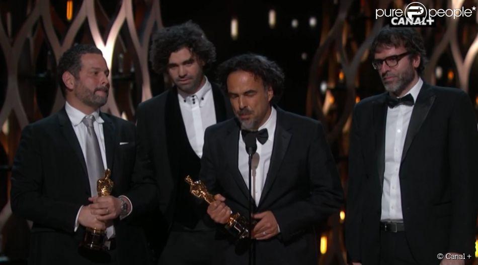 Alejandro Inarritu et ses scénaristes primés pour Birdman et l'Oscar du meilleur scénario original