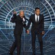 Lonnie Lynn (Common) et John Stephens (John Legend) avec leurs Oscars pour la chanson originale de Selma, Glory, aux Oscars 2015.