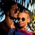 Exclusif - Vanessa Lawrens et Julien Guirado ont fêté les un an de leur relation amoureuse à Punta Cana en République dominicaine. Janvier 2015.