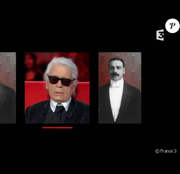 Karl Lagerfeld évoque l'ouverture d'esprit de sa mère concernant l'homosexualité. On peut voir ici une photo de son père. Emission Le divan, diffusée sur France 3, le 24 février 2015.