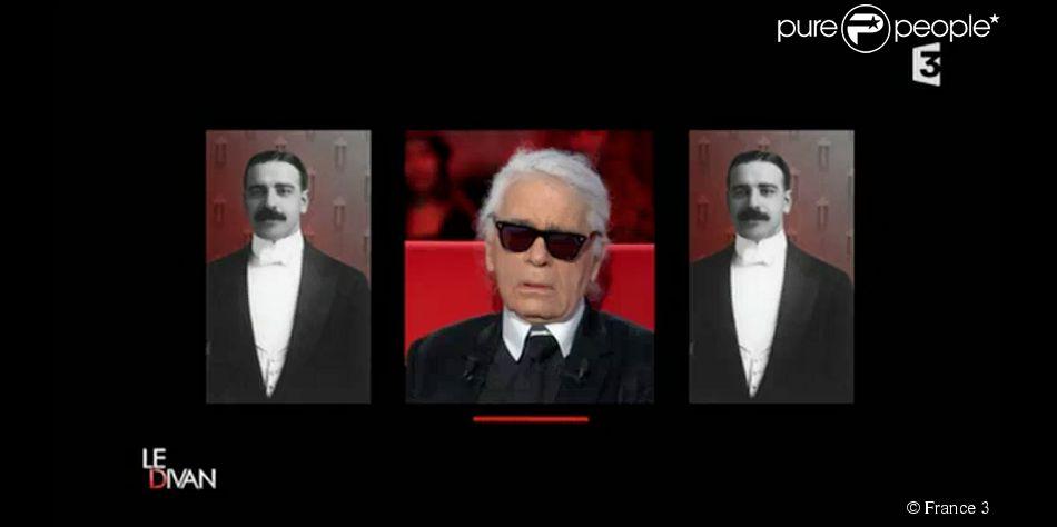 Karl Lagerfeld évoque l'ouverture d'esprit de sa mère concernant l'homosexualité. On peut voir ici une photo de son père. Emission  Le divan , diffusée sur France 3, le 24 février 2015.