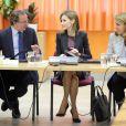 La reine Letizia d'Espagne à une  réunion du conseil du Patronage royal sur le handicap, dont elle est la présidente d'honneur au centre de formation de la ONCE, le 25 février 2015