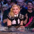 """Madonna et Luz de """"Charlie Hebdo"""" sur le plateau du Grand Journal de Canal+, le 2 mars 2015."""