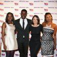 Tonjé Bakang, fondateur d'Afrostream, accompagné de l'équipe organisatrice de la soirée (Gisèle Tchayem, Gaëlle Bouvier et Pamela Diop) lors du lancement du label AfrostreamVOD chez TF1 à Boulogne-Billancourt, le 4 mars 2015.