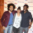 Yassine Azzouz, Alicia Fall et Noom Diawara au lancement du label AfrostreamVOD chez TF1 à Boulogne-Billancourt, le 4 mars 2015.