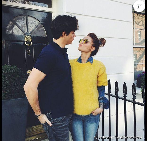 Caroline Receveur et Valentin à Londres le 4 mars 2015.