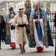 La reine Elizabeth II arrive au service organisé à l'abbaye de Westminster pour le Commonwealth Day, le 9 mars 2015 à Londres.
