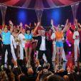 Patrick Sebastien et sa bande sur le plateau du Plus Grand Cabaret du Monde. Tournage en décembre 2012 à Bry-sur-Marne.