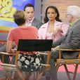 Jim Parsons, Rihanna et Steve Martin sur le plateau de l'émission Good Morning America à New York. Le 13 mars 2015.