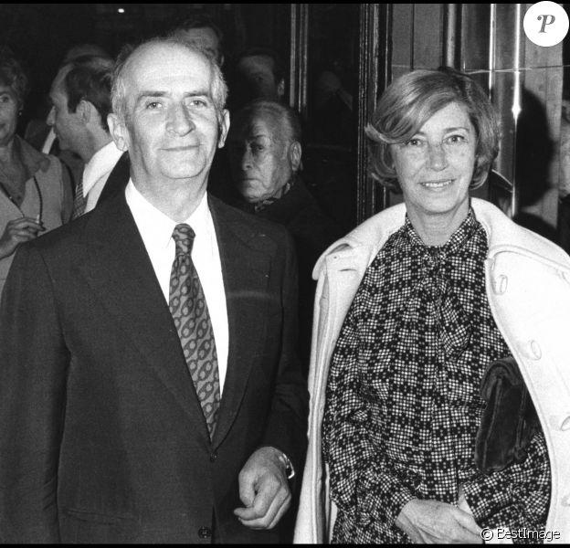 Louis de Funès et son épouse Jeanne au théâtre des Variétés à Paris le 1er octobre 1976