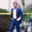 """Exclusif - Ryan Gosling et Russell Crowe sur le tournage du film """" The Nice guys """" à Los Angeles Le 30 janvier 2015"""