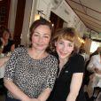 """Exclusif - Catherine Frot et Julie Depardieu déjeunent avec Josée Dayan pour préparer le tournage de """"La tueuse caméléon"""", une fiction pour France 2 au restaurant Fouquet's à paris le 18 mars 2015."""