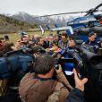 Point presse du général commandant la région PACA gendarmerie - Les hélicoptères de la sécurité civile à Seyne les Alpes suite au crash de l'airbus A320 de Germanwings le 24 mars 2015