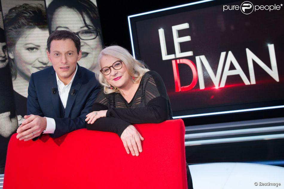 Exclusif - Josiane Balasko et Marc-Olivier Fogiel - Enregistrement de l'émission  Le Divan.  Le 13 février 2015.