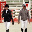 Charlotte Casiraghi et Thierry Rozier participent au Jumping International de Cagnes-sur-Mer, le vendredi 3 avril 2015.