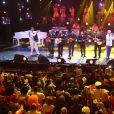 Exclusif - Patrick Sébastien fêtant ses 40 ans de scène à l'Olympia avec Chico and the Gypsies, le 14 novembre 2014.
